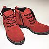 Женские демисезонные ботинки натуральная замша в красном цвете, фото 3
