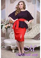 Красная женская юбка больших размеров (р. 48-90) арт. Доротея с поясом