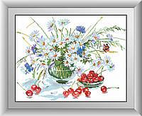 Вышивка камнями Dream Art Ромашки и черешня (квадратные камни, полная зашивка) (DA-30399) 41 х 52 см