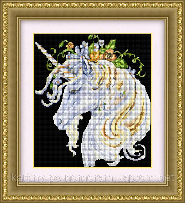 Вышивка камнями Dream Art Единорог в цветах (квадратные камни, полная зашивка) (DA-30415) 36 х 43 см