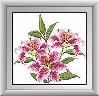 Вышивка камнями Dream Art Розовые лилии (квадратные камни, полная зашивка) (DA-30420) 36 х 37 см