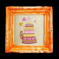 Подарок картина керамическая для любителей кофе авторский дизайн Кофейник 12*12см 9795