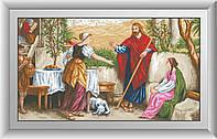 Вышивка камнями Dream Art Иисус, Марфа и Мария (квадратные камни, полная зашивка) (DA-30481) 56 х 100 см