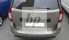 Защитная хром накладка на задний бампер с загибом Renault Logan 3 MCV (рено логан 3 2013г+)