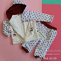 Велюровый костюм для девочки на махре р 6,12 мес