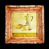Подарок картина керамическая для любителей кофе авторский дизайн Кофеварка 9*9см 9798