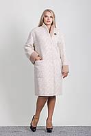 Женское шерстяное пальто большого размера прямого силуэта с брошью