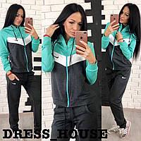 "Спортивный костюм на молнии ""Nike"" темно-серый-мята р.42-44"