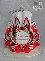 Красивая красная резная свеча в подарок учителю