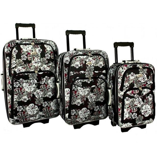 Дорожный чемодан сумка 773 набор 3 штуки цветы