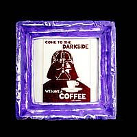 Подарок картина керамическая для любителей кофе авторский дизайн Дарт Вейдер 12*12см 9801