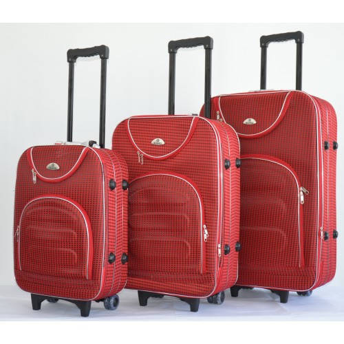 Комплект чемоданов сумка дорожный Bonro набор 3 штуки цвет красный клетка