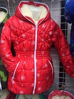 Куртка детская, подростковая в зимний принт на меху