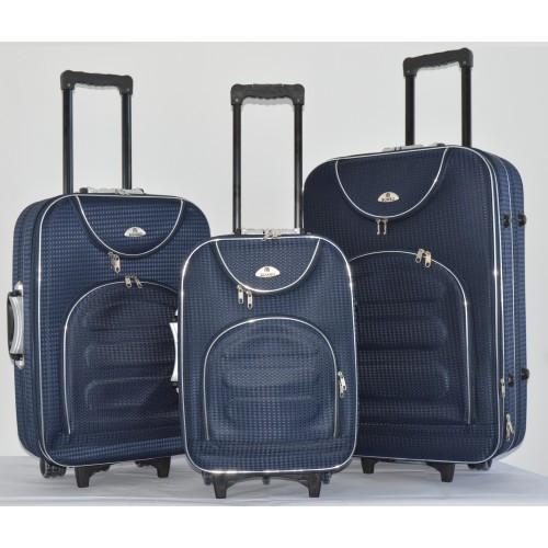 Текстильный чемодан сумка дорожный Bonro набор 3 штуки Цвет: темно-синий клетка