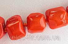 Бусины Коралл оранжевый рубка галтовка 10-12мм 1 шт