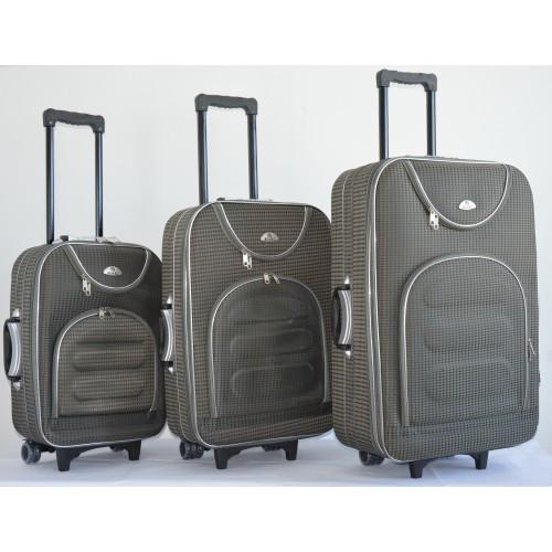 37ef9b71d38b Чемодан на колесах сумка Bonro набор 3 штуки Цвет: серый клетка - Интернет  магазин Balos