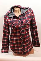 Рубашка байка женская в клетку с капюшоном