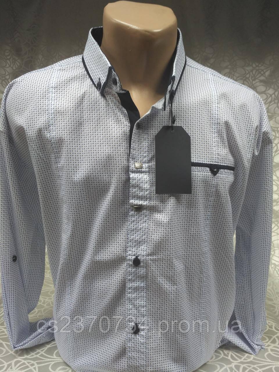 Рубашка мужская GPORT приталенная,белая в мелкий рисунок. (5XL(56))