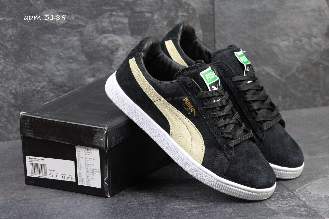 Мужские кроссовки Puma Suede (Румыния) черные с бежевым