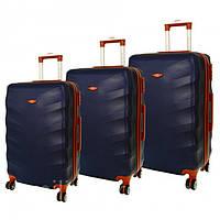 Дорожный чемодан сумка Exclusive набор 3 штуки темно-синий Поликарбонат