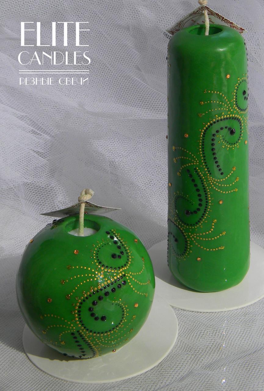 Зеленый набор расписных свечей от ELITE CANDLES