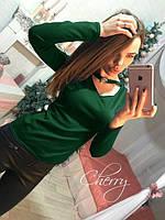 Женская кофта с чокером Ника ,Темно-зеленая свитера женские