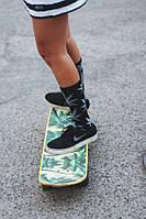 Носки HUF высокие | чёрные с белым листом