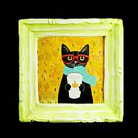 Подарок картина керамическая для любителей кофе авторский дизайн Кот 12*12см 9817