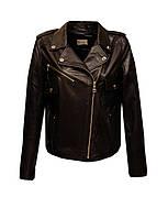Куртка косуха женская из натуральной кожи Carnelli короткая коричневая
