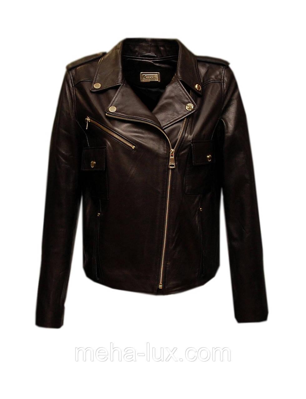 ee8208cd9b1a Куртка косуха женская из натуральной кожи Carnelli короткая коричневая -