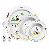 AVENT Набор посуды для кормления малышей с развивающими рисунками от 6 мес. SCF716/00