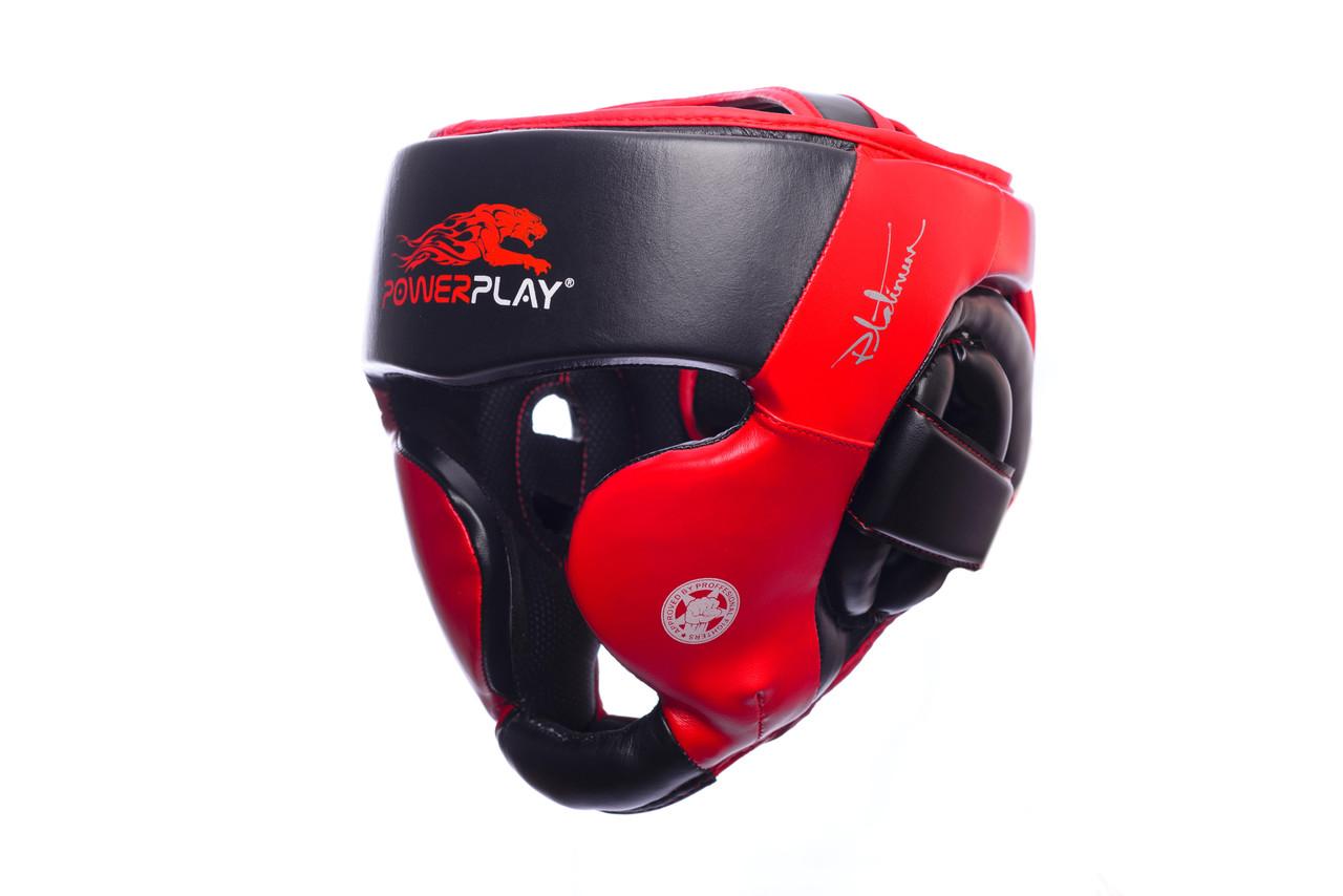 Шлем боксерский PowerPlay 3031 Platinum red-black / S