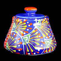 Сахарница керамическая авторский дизайн ручная роспись Узор синяя 9707