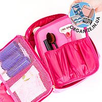 Дорожный органайзер для косметики с отстегивающимся кармашком ORGANIZE (розовый)