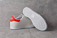 Кроссовки на липучке Adidas Stan Smith (Бело-красные), фото 1