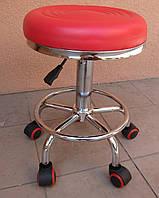 Стул для мастера маникюра , педикюра и парикмахера без спинки красный и черный