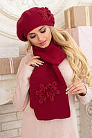 Комплект зимний берет и шарф с цветами 5086-10