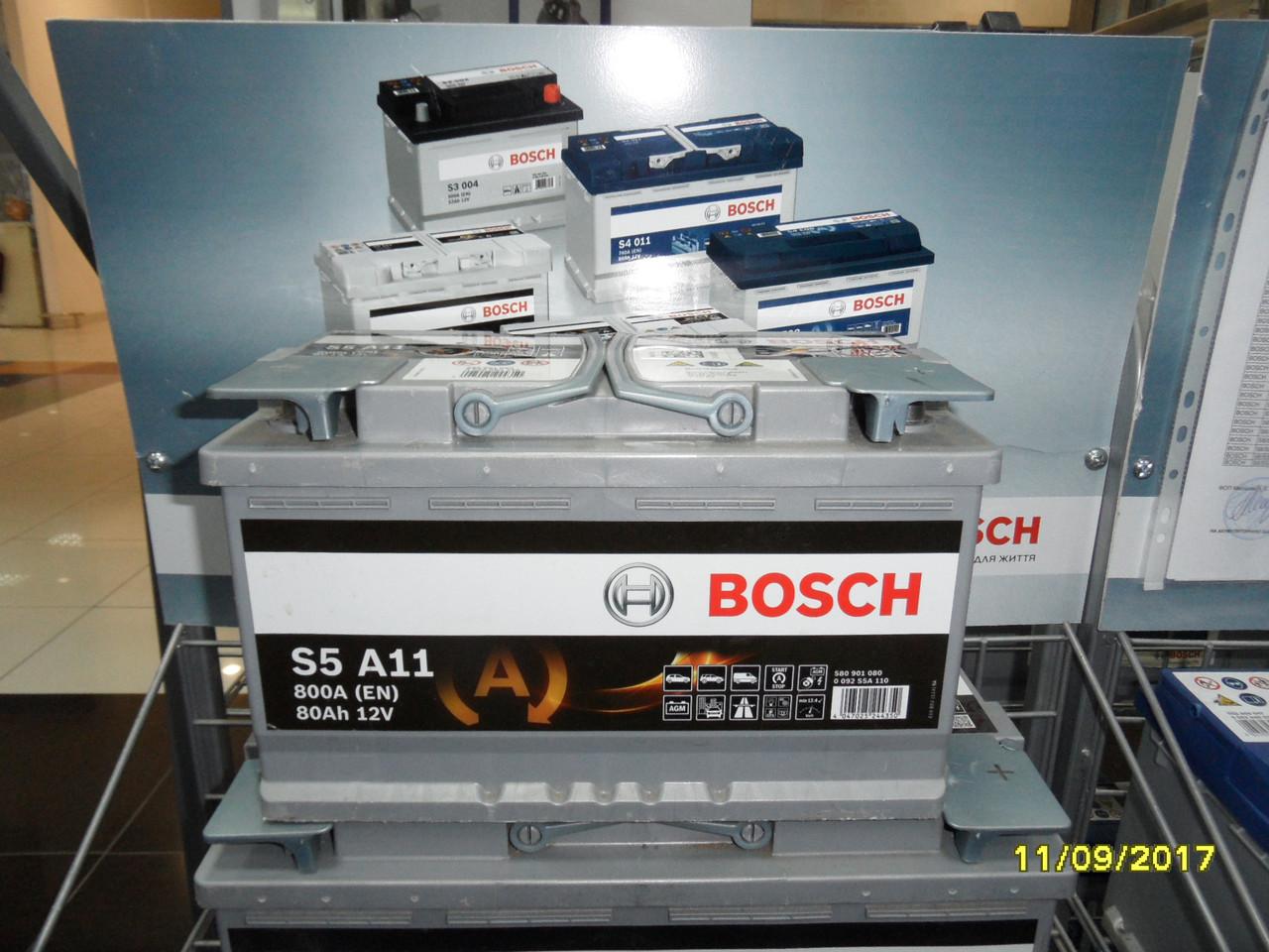 Автомобильный аккумулятор, BOSCH,0092S5A110, AGM 80Ah-+,АКБ.
