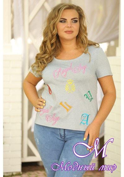 Женская батальная футболка с вышивкой (р. 48-50) арт. Логика