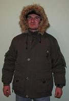 Куртка-пуховик мужская с меховой окантовкой на капюшоне