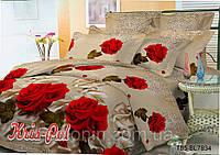 """Двуспальный Евро набор постельного белья """"Лебеди и розы""""."""