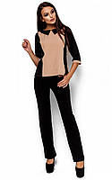 Жіноча класична чорно-бежева блузка Maly