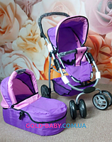 Коляска для кукол Melogo 9662M 4-в-1 Фиолетово-розовая