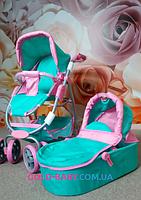 Коляска для кукол Melogo 9662M 4-в-1 Мятно-Розовая