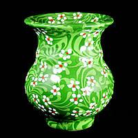 Ваза керамическая авторский дизайн ручная роспись Гипсофила зеленая большая 9692