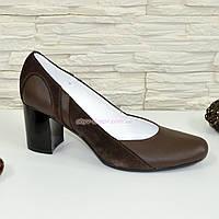 Женские классические коричневые туфли на каблуке из натуральной кожи и замши
