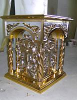 Резной панихидный стол с золочением и серебрением