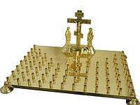 Крышка панихидного стола из латуни на 68 свечей с голгофой