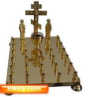 Крышка панихидного стола из латуни на 24 свечей с голгофой