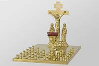 Крышка для стола панихидного на 30 свечей с литой Голгофой